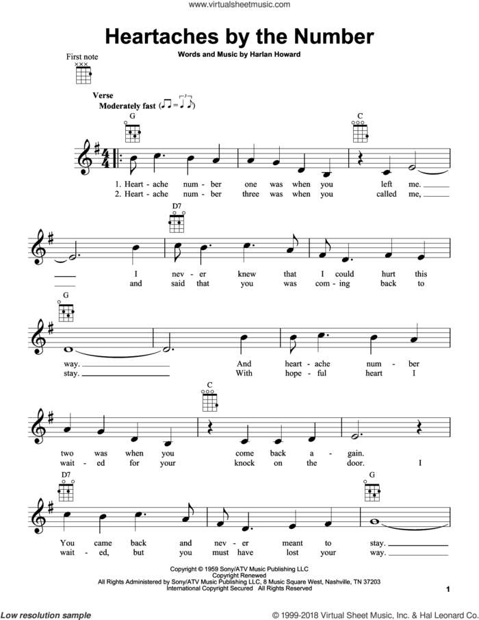 Heartaches By The Number sheet music for ukulele by Guy Mitchell, Ray Price and Harlan Howard, intermediate skill level