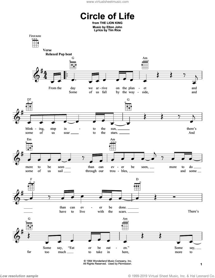 Circle Of Life sheet music for ukulele by Elton John and Tim Rice, intermediate skill level