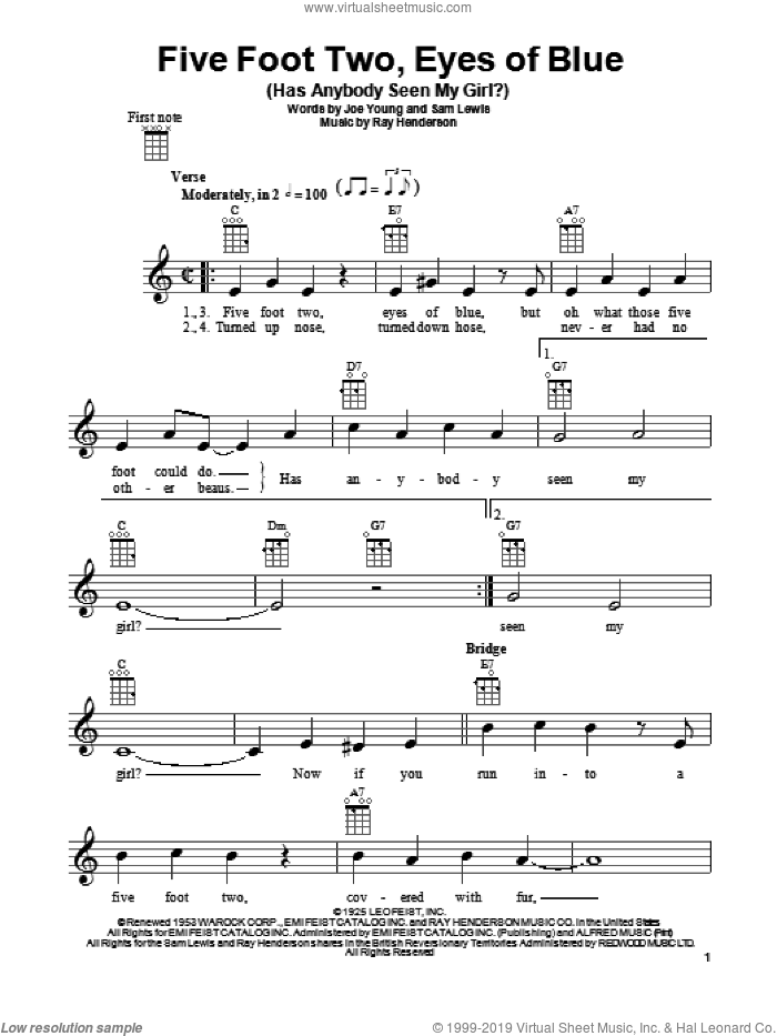 Five Foot Two, Eyes Of Blue (Has Anybody Seen My Girl?) sheet music for ukulele by Ray Henderson, Joe Young and Sam Lewis, intermediate skill level