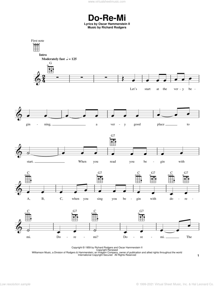 Do-Re-Mi (from The Sound of Music) sheet music for ukulele by Rodgers & Hammerstein, The Sound Of Music (Musical), Oscar II Hammerstein and Richard Rodgers, intermediate skill level