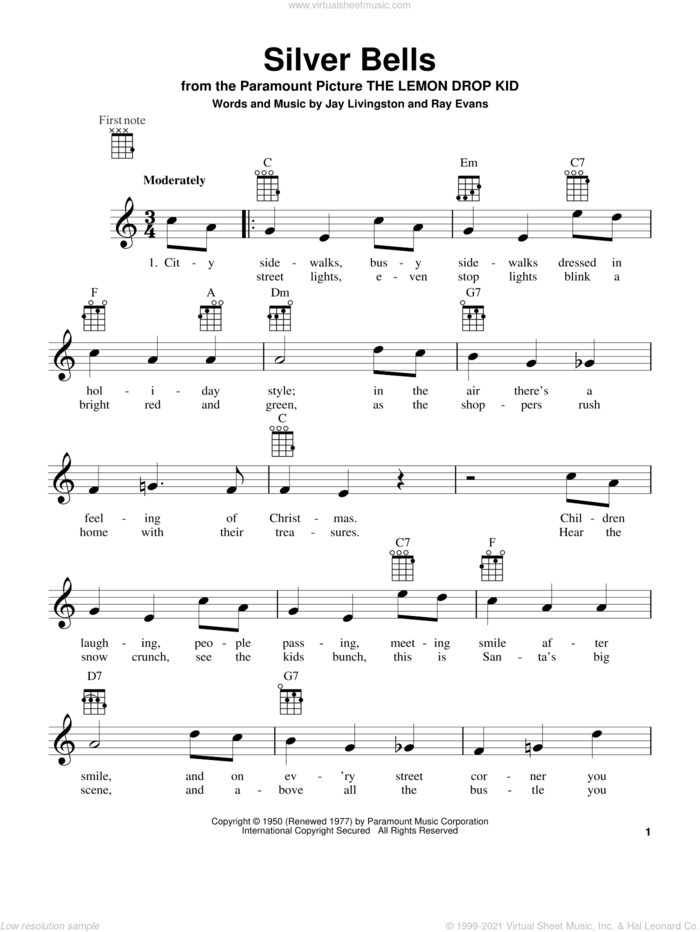 Silver Bells sheet music for ukulele by Jay Livingston and Ray Evans, intermediate skill level