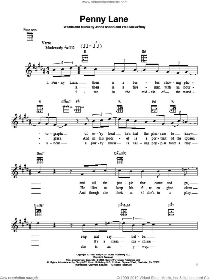 Penny Lane sheet music for ukulele by The Beatles, John Lennon and Paul McCartney, intermediate skill level