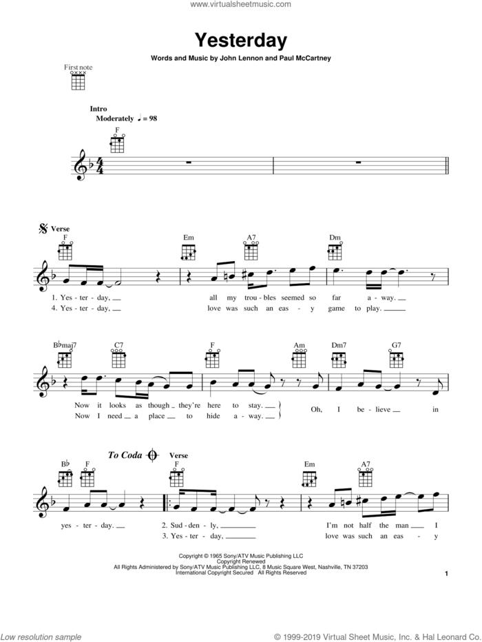 Yesterday sheet music for ukulele by The Beatles, John Lennon and Paul McCartney, intermediate skill level