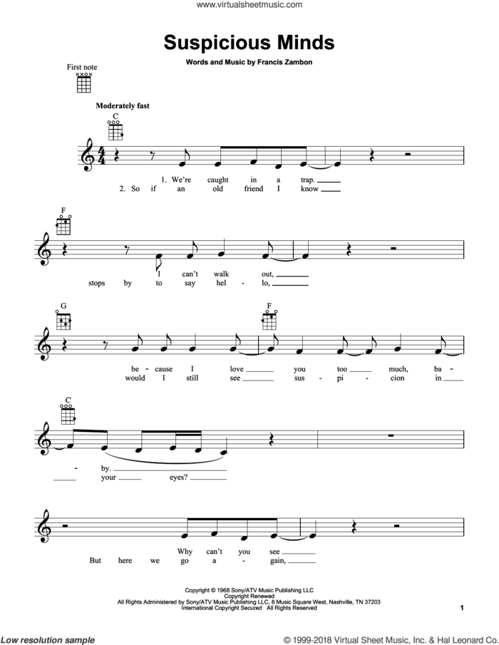 Suspicious Minds sheet music for ukulele by Elvis Presley and Francis Zambon, intermediate skill level