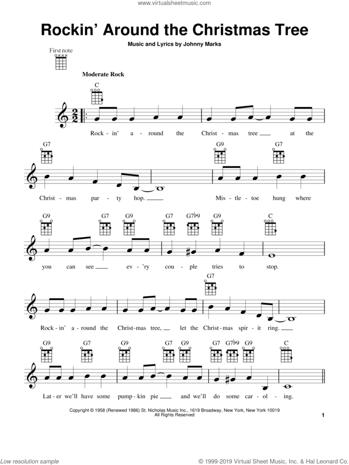 Rockin' Around The Christmas Tree (arr. Fred Sokolow) sheet music for ukulele by Brenda Lee and Johnny Marks, intermediate skill level