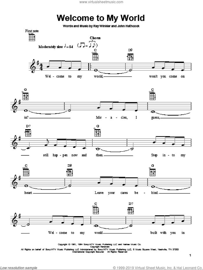 Welcome To My World sheet music for ukulele by Jim Reeves, Eddy Arnold, John Hathcock and Ray Winkler, intermediate skill level