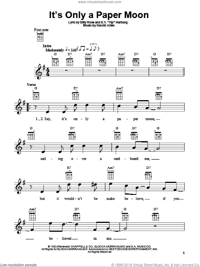 It's Only A Paper Moon sheet music for ukulele by E.Y. Harburg, Billy Rose and Harold Arlen, intermediate skill level