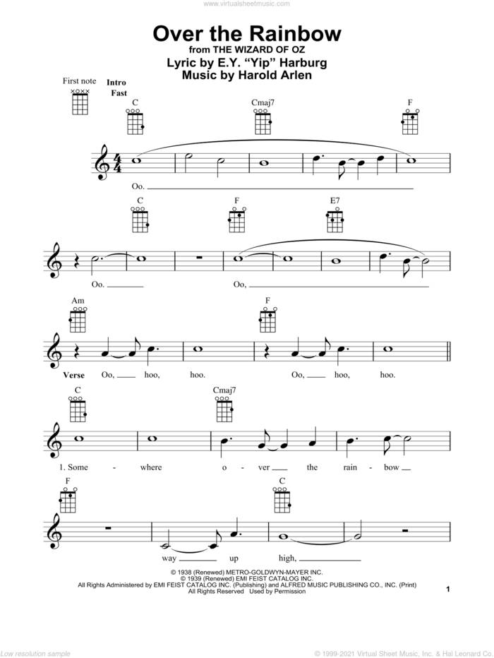 Over The Rainbow sheet music for ukulele by Judy Garland, E.Y. Harburg, Glee Cast and Harold Arlen, intermediate skill level