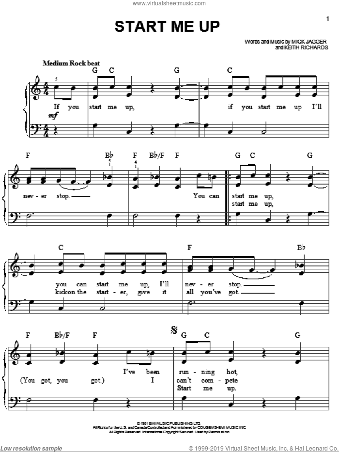 Start Me Up sheet music for piano solo by The Rolling Stones, Keith Richards and Mick Jagger, easy skill level