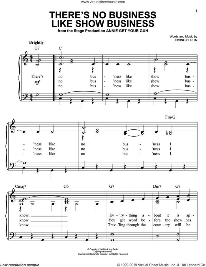 There's No Business Like Show Business sheet music for piano solo by Irving Berlin, easy skill level