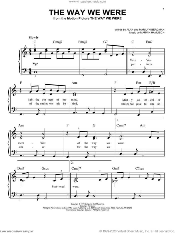 The Way We Were sheet music for piano solo by Barbra Streisand, Alan Bergman, Marilyn Bergman and Marvin Hamlisch, easy skill level