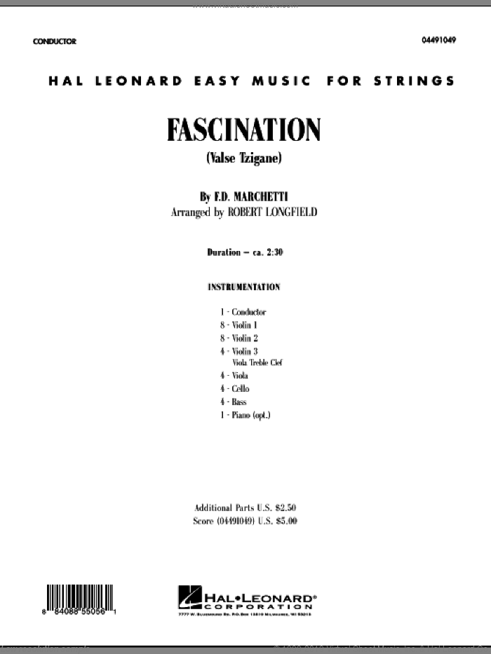 Fascination (Valse Tzigane) (COMPLETE) sheet music for orchestra by Fermo Dante Marchetti and Robert Longfield, intermediate skill level