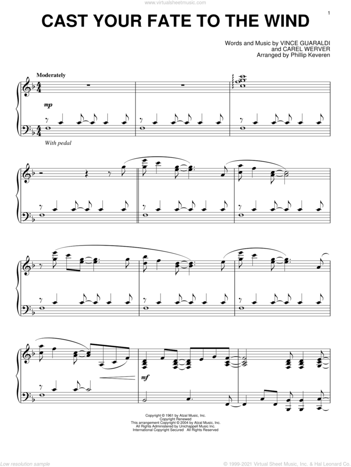 Cast Your Fate To The Wind sheet music for piano solo by Vince Guaraldi, Phillip Keveren and Carel Werver, intermediate skill level