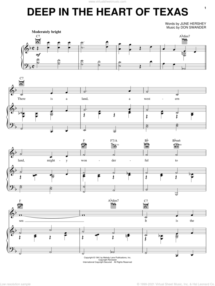 Deep In The Heart Of Texas sheet music for voice, piano or guitar by Alvino Rey & His Orchestra, Don Swander and June Hershey, intermediate skill level