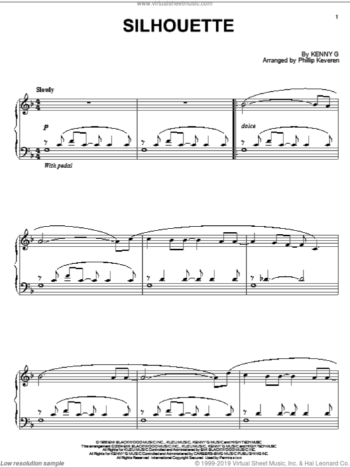 Silhouette sheet music for piano solo by Kenny G and Phillip Keveren, intermediate skill level