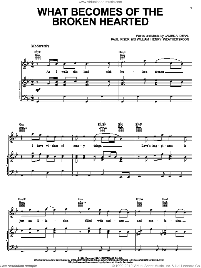 What Becomes Of The Broken Hearted sheet music for voice, piano or guitar by Jimmy Ruffin, Paul Young, James A. Dean, Paul Riser and William Henry Weatherspoon, intermediate skill level