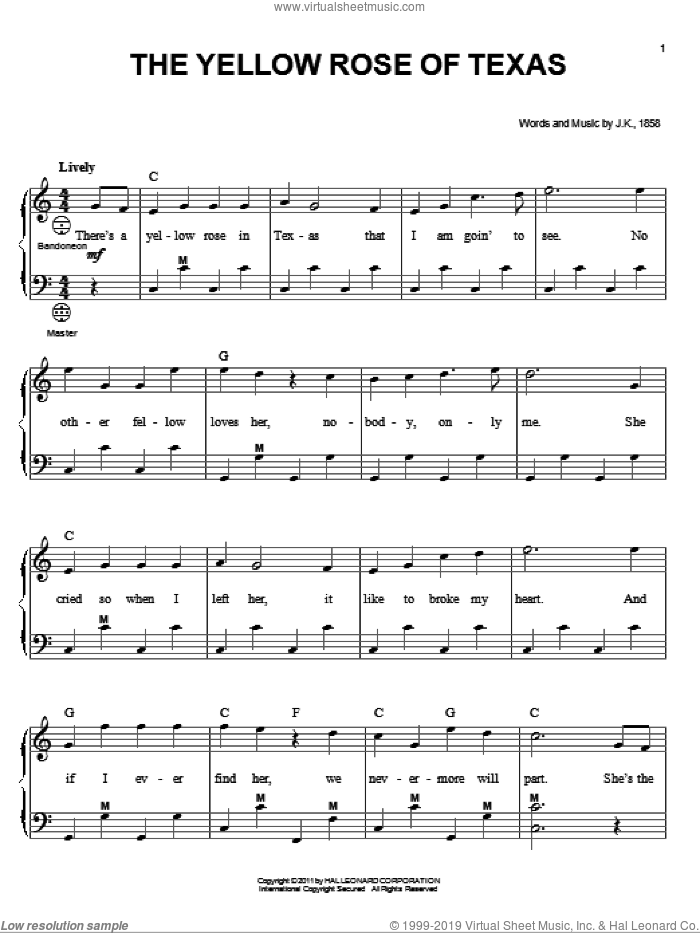 The Yellow Rose Of Texas sheet music for accordion  and Gary Meisner, intermediate skill level
