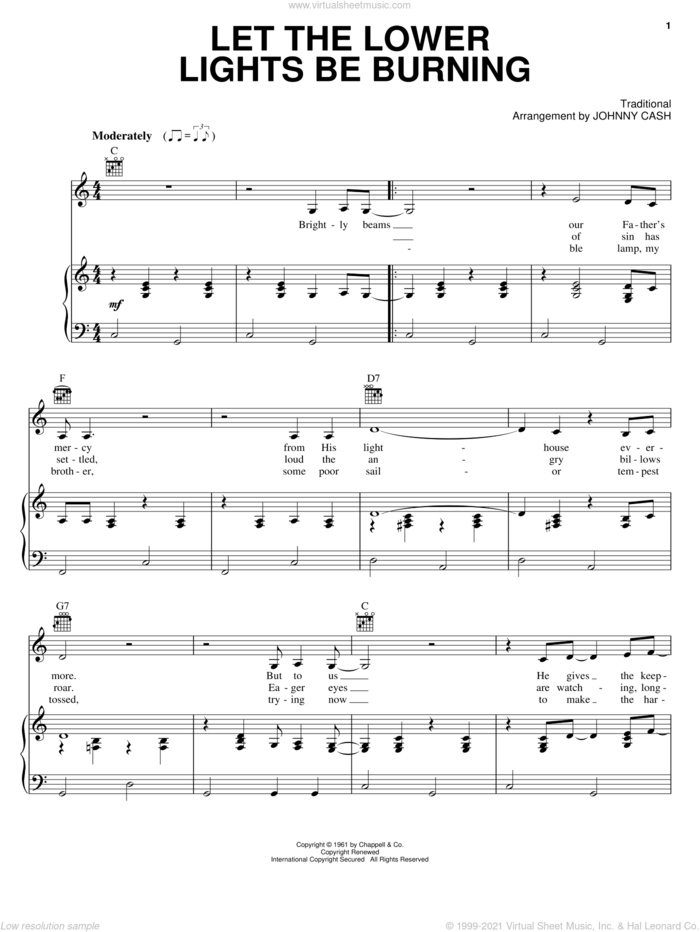 Let The Lower Lights Be Burning sheet music for voice, piano or guitar by Johnny Cash and Philip P. Bliss, intermediate skill level