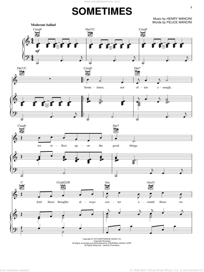 Sometimes sheet music for voice, piano or guitar by Henry Mancini, Carpenters and Felice Mancini, intermediate skill level