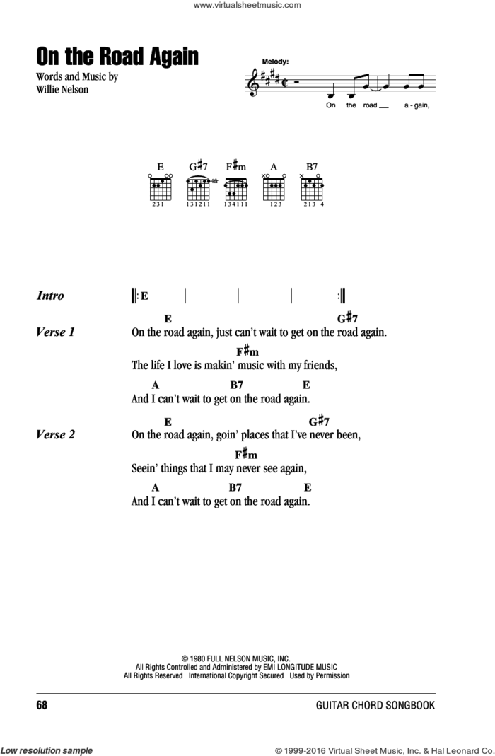 On The Road Again sheet music for guitar (chords) by Willie Nelson, intermediate skill level