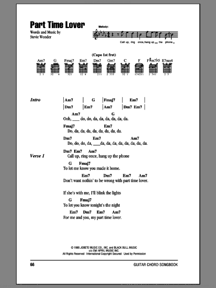 Part Time Lover sheet music for guitar (chords) by Stevie Wonder, intermediate skill level