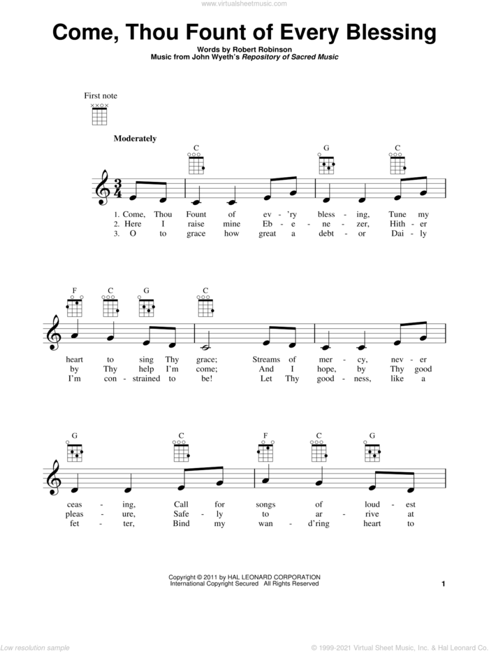 Come, Thou Fount Of Every Blessing sheet music for ukulele by Robert Robinson and John Wyeth, intermediate skill level