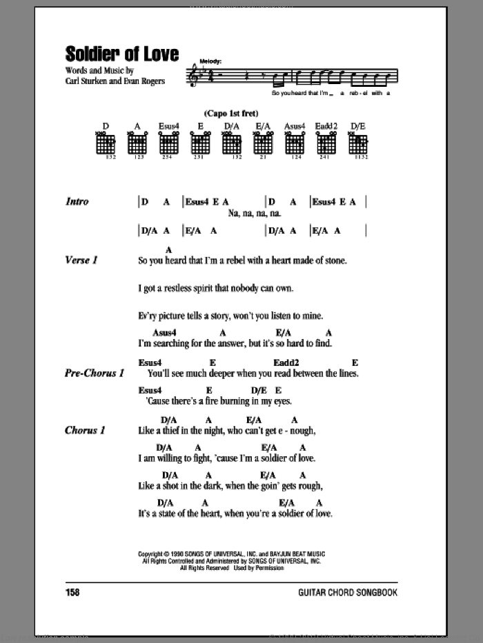 Soldier Of Love sheet music for guitar (chords) by Donny Osmond, Sade, Carl Sturken and Evan Rogers, intermediate skill level