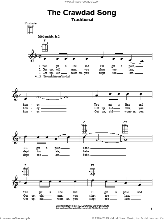 The Crawdad Song sheet music for ukulele, intermediate skill level