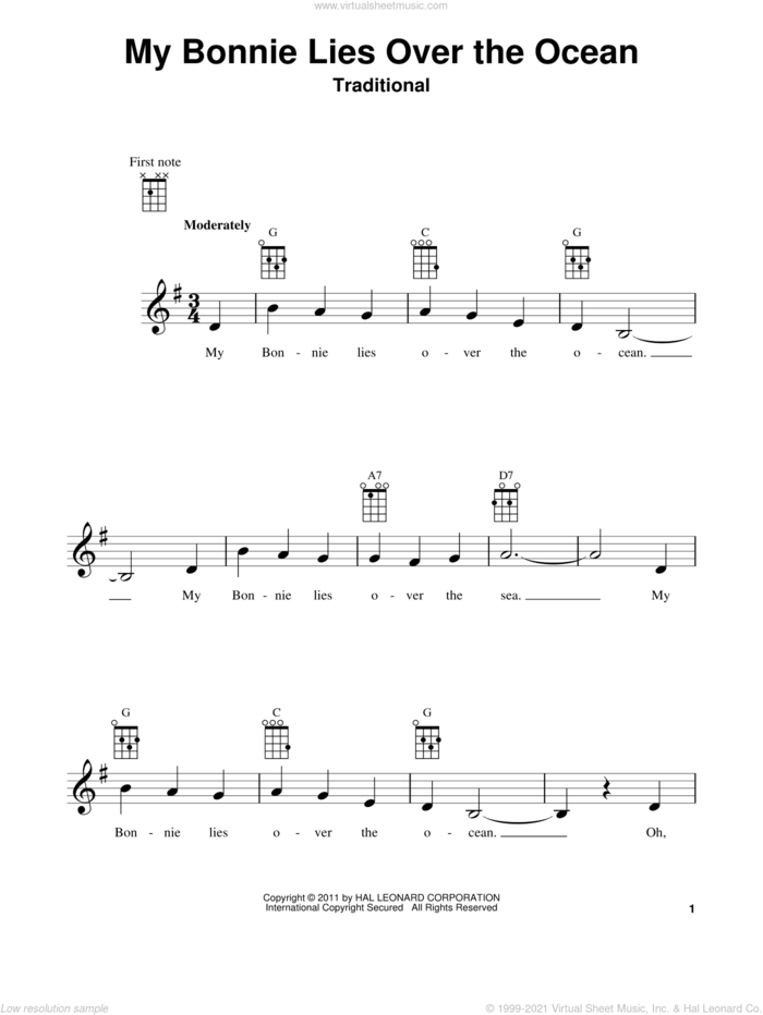 My Bonnie Lies Over The Ocean sheet music for ukulele, intermediate skill level
