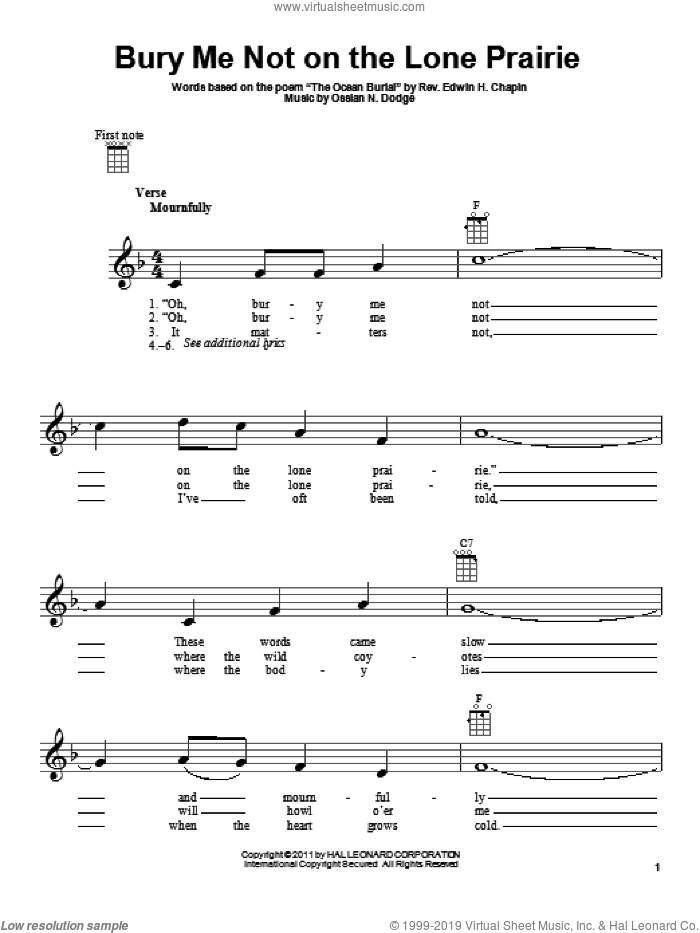Bury Me Not On The Lone Prairie sheet music for ukulele by E.H. Chapin and Ossian N. Dodge, intermediate skill level