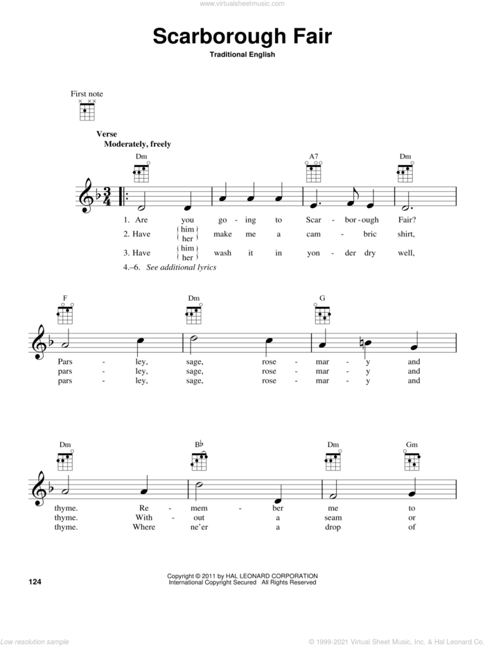 Scarborough Fair sheet music for ukulele by Traditional English Ballad and Miscellaneous, intermediate skill level
