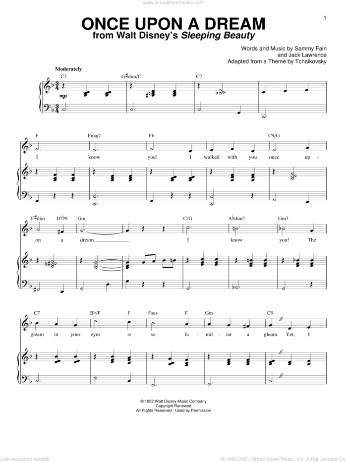 Once Upon A Dream sheet music for voice and piano by Sammy Fain, Mary Costa and Jack Lawrence, intermediate skill level