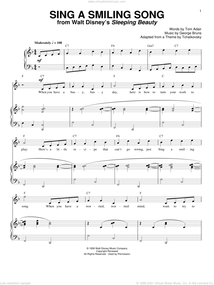 Sing A Smiling Song sheet music for voice and piano by Tom Adair and George Bruns, intermediate skill level
