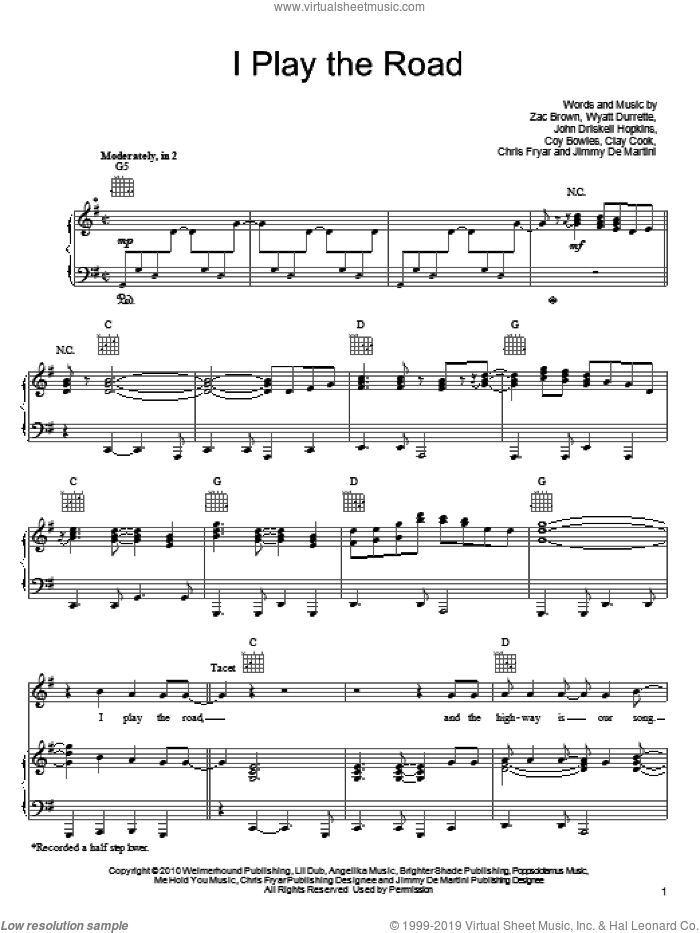 I Play The Road sheet music for voice, piano or guitar by Zac Brown Band, Chris Fryar, Clay Cook, Coy Bowles, Jimmy De Martini, John Driskell Hopkins, Wyatt Durrette and Zac Brown, intermediate skill level