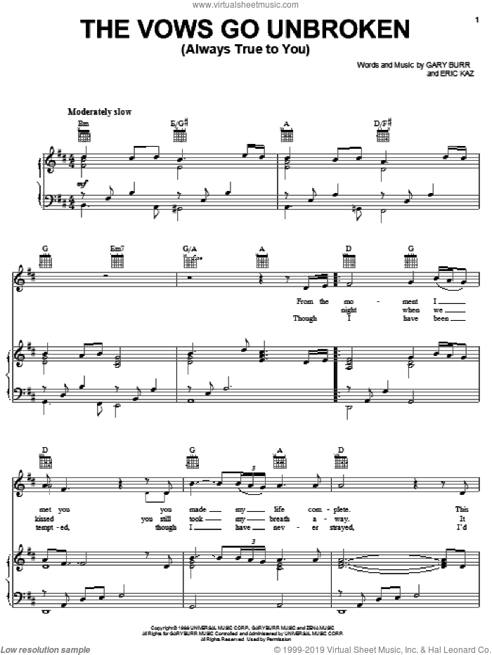 The Vows Go Unbroken (Always True To You) sheet music for voice, piano or guitar by Kenny Rogers, Eric Kaz and Gary Burr, wedding score, intermediate skill level