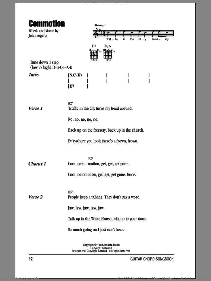 Commotion sheet music for guitar (chords) by Creedence Clearwater Revival and John Fogerty, intermediate skill level
