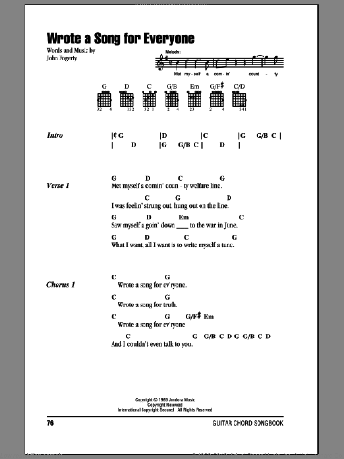 Wrote A Song For Everyone sheet music for guitar (chords) by Creedence Clearwater Revival and John Fogerty, intermediate skill level