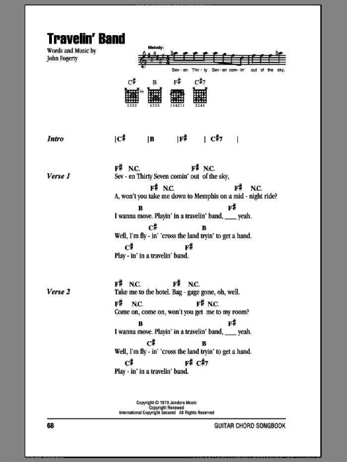 Travelin' Band sheet music for guitar (chords) by Creedence Clearwater Revival and John Fogerty, intermediate skill level