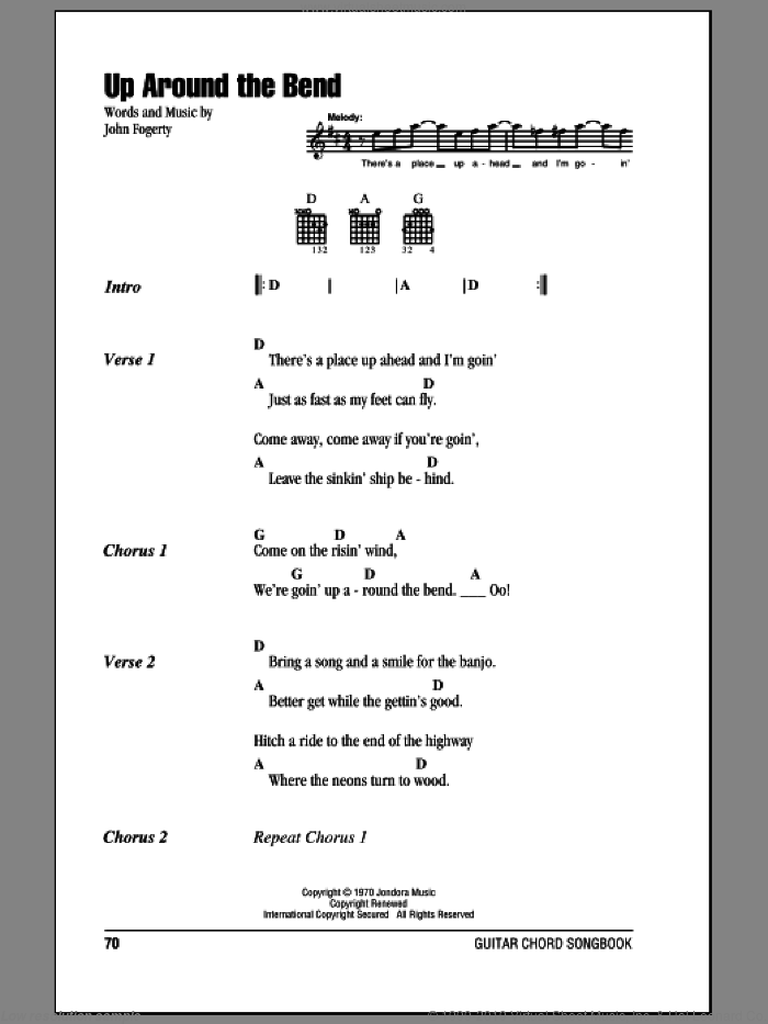 Up Around The Bend sheet music for guitar (chords) by Creedence Clearwater Revival and John Fogerty, intermediate skill level