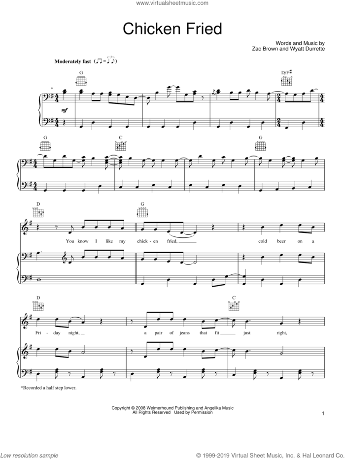 Chicken Fried sheet music for voice, piano or guitar by Zac Brown Band, Wyatt Durrette and Zac Brown, intermediate skill level
