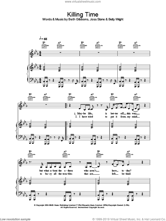 Killing Time sheet music for voice, piano or guitar by Joss Stone, Beth Gibbons and Betty Wright, intermediate skill level