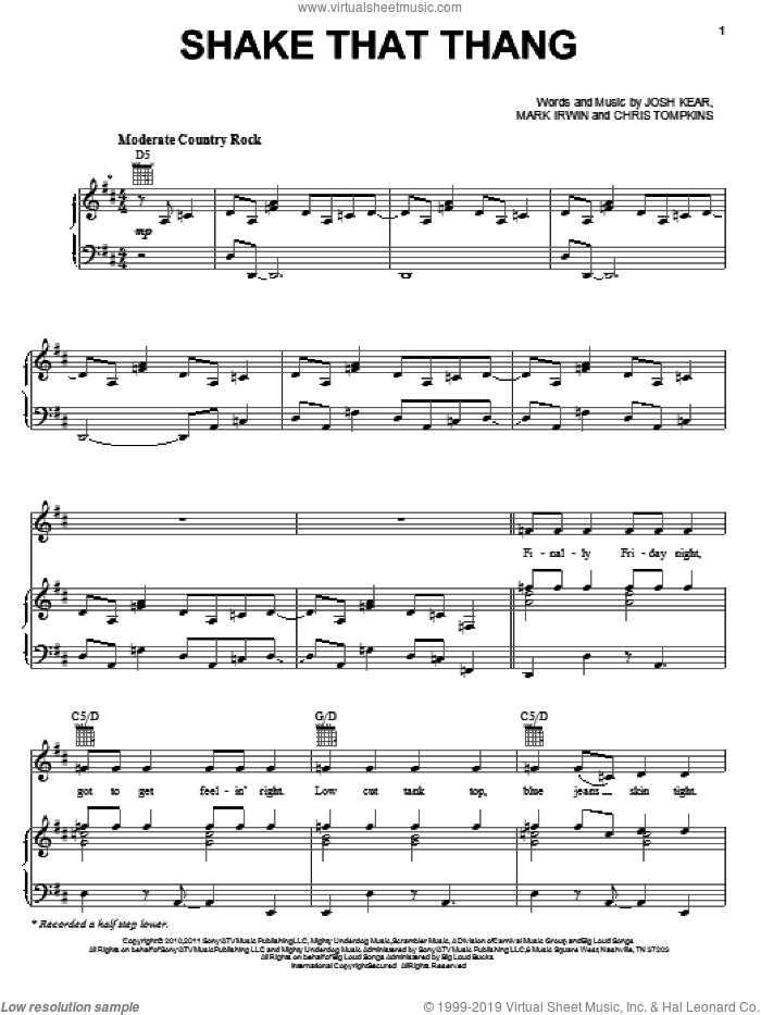 Shake That Thang sheet music for voice, piano or guitar by Gwyneth Paltrow, Country Strong (Movie), Chris Tompkins, Josh Kear and Mark Irwin, intermediate skill level