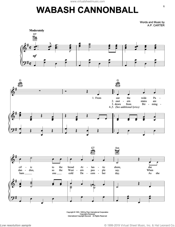 Wabash Cannonball sheet music for voice, piano or guitar by Roy Acuff, The Carter Family and A.P. Carter, intermediate skill level