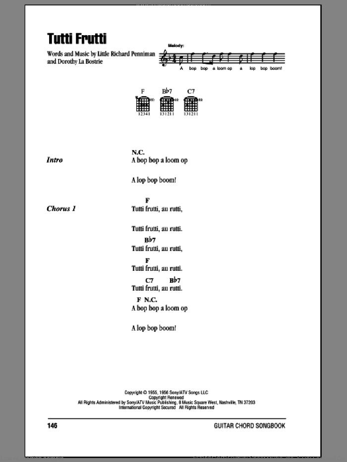 Tutti Frutti sheet music for guitar (chords) by Little Richard and Dorothy La Bostrie, intermediate skill level