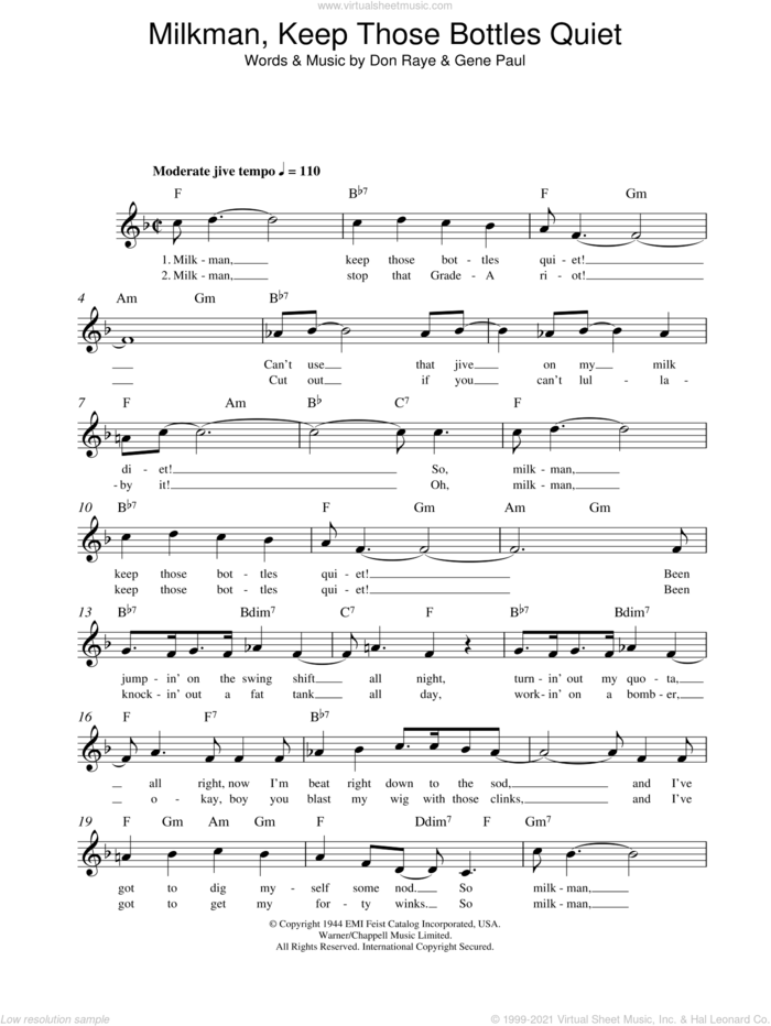 Milkman, Keep Those Bottles Quiet sheet music for voice and other instruments (fake book) by Ella Mae Morse, Don Raye and Gene Paul, intermediate skill level