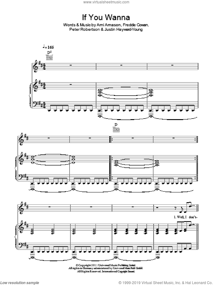 If You Wanna sheet music for voice, piano or guitar by The Vaccines, Arni Arnason, Freddie Cowan, Justin Hayward-Young and Peter Robertson, intermediate skill level
