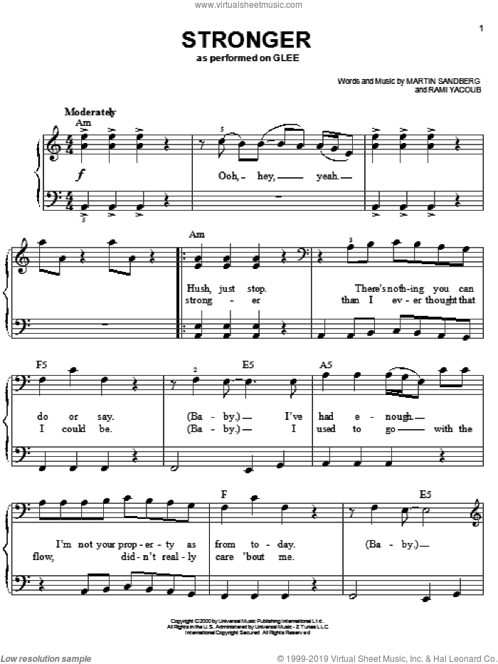 Stronger sheet music for piano solo by Glee Cast, Britney Spears, Miscellaneous, Martin Sandberg and Rami, easy skill level