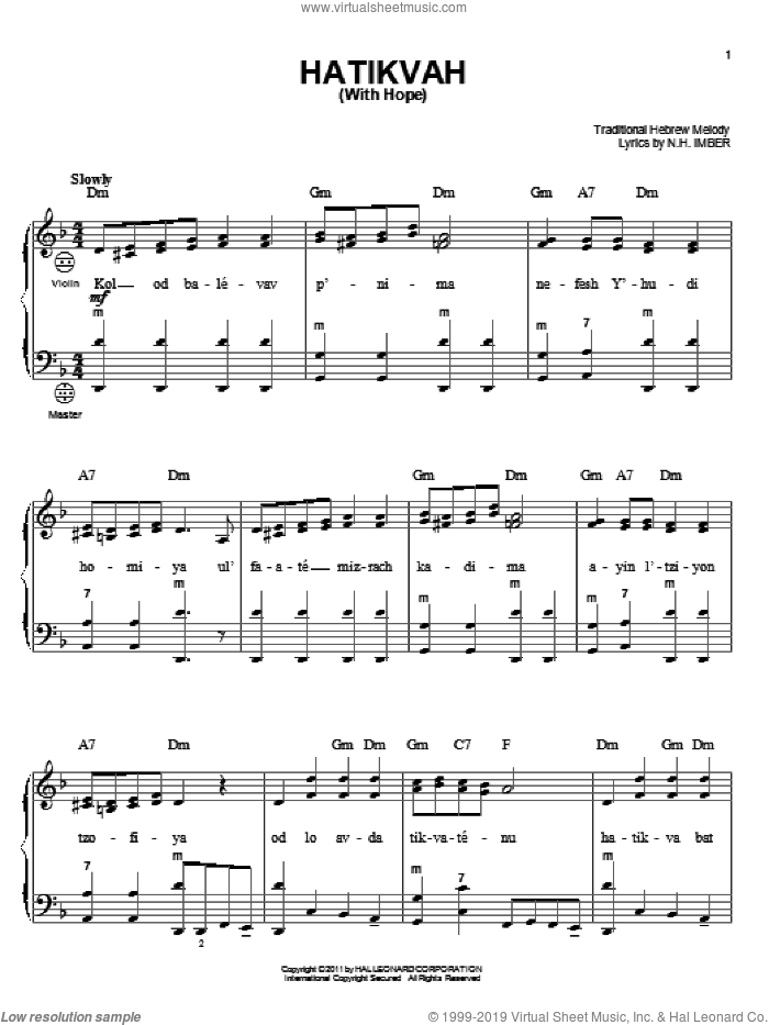 Hatikvah (With Hope) sheet music for accordion by Naftali Herz Imber and Miscellaneous, intermediate skill level
