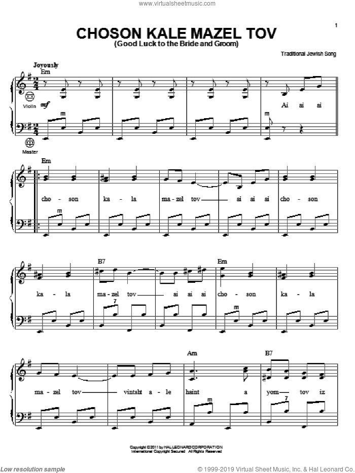 Choson Kale Mazel Tov (Good Luck To The Bride And Groom) sheet music for accordion by Traditional Jewish Song, intermediate skill level