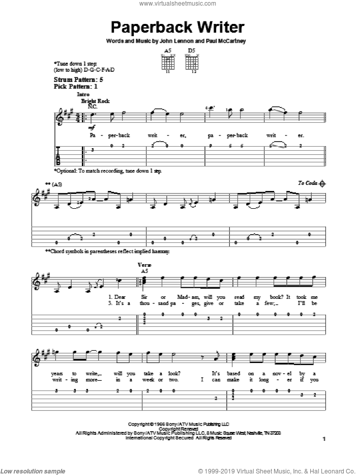 Paperback Writer sheet music for guitar solo (easy tablature) by The Beatles, John Lennon and Paul McCartney, easy guitar (easy tablature)